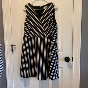 Black and white striped coaktail dress